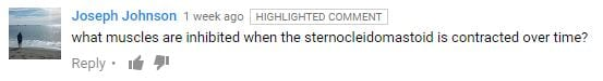 "A screen capture of a question on YouTube. Question reads: ""what muscles are inhibited when the sternocleidomastoid is contracted over time?"""